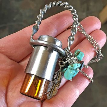 Essential Oil Necklace Steel Vial Holder Urn Jewelry
