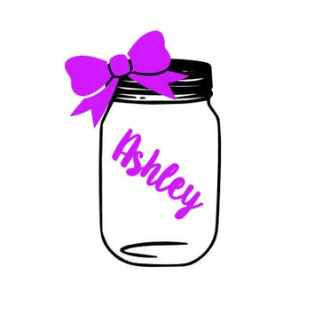 Mason Jar Name Monogram Decal - Custom Decal - Southern - Heart - Yeti Decal - Car Decal - Any Size - Any Color - Glitter - Custom Sticker