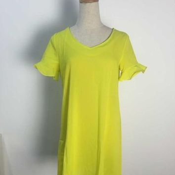 Mini Summer Style Women Dress Neon Sexy Summer Dress 2015 Casual Dresses Petal Sleeve Yellow 2015 Vestido Vestidos Dresses