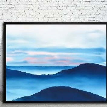 Modern Abstract Art, Watercolor Landscape Print, Watercolor Painting Print,Blue Painting Landscape,Sunset Print,Cloud Sky Art,Minimalist Art