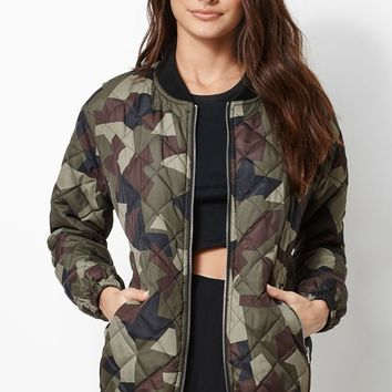 Kendall & Kylie Quilted Longline Bomber Jacket - Womens Jacket