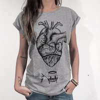 Anatomical heart / hot air balloon t-shirt for ladies. Screenprinting of a handmade design, vintage tattoo style drawing. Melange grey