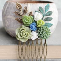 Green Bridal Hair Comb Rustic Woodland Wedding Bridesmaid Gift Something Blue Shades of Green and White Roses Dahlia Grey Wedding Hair Piece