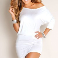 Sleek All White Oversized Tee Tunic Sexy Dress