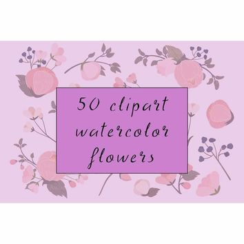 Custom Watercolor Floral Embellishments - 50 clip art files