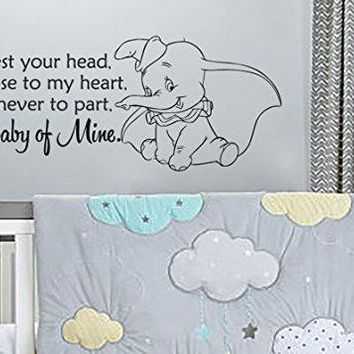 """Inspired by Dumbo Baby Mine Vinyl Wall Decal Sticker 28.8""""w x 12.5""""h for Nursery or Children's Room"""