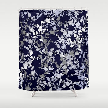 "Custom Shower Curtain -  71"" by 74"" Home, Decor, Bathroom, Bath, Dorm, Christmas, Gift, Boho, Custom, Floral, Pattern, Grey, Blue, White"