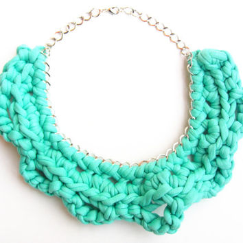 Tshirt Yarn Necklace, Cotton necklace, Fiber Necklace, Mint Green Necklace, Crochet Necklace, Knitted Necklace, Cotton Choker, Bib Necklace