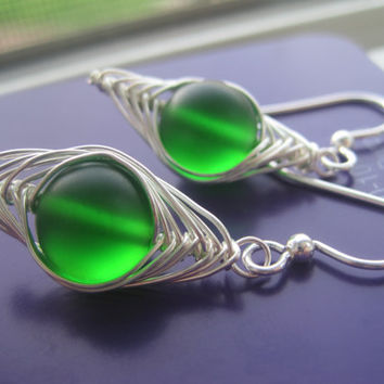 Green Sea Glass Earrings Herringbone Wire Wrapped