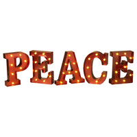 PEACE - LED Illuminated Lighted Metallic RED Marquee Word Sign 10-in Christmas Holiday Decor