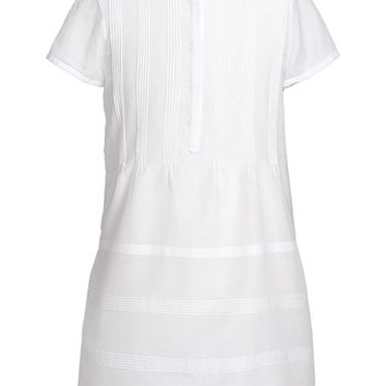 Girl's Burberry 'Talia' Silk & Cotton Shirtdress