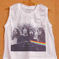 Pink Floyd The Wall Art Pop Indie Punk Tattoo Vintage Lady Women T shirt Muscle Crop Tank Top Size S M L