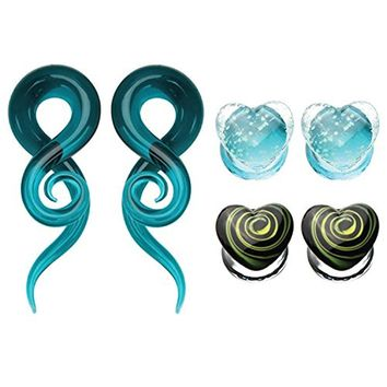 BodyJ4You 6PCS Ear Gauges 00G Glass Spiral Tapers Hanger and Heart Plugs Stretching Kit (10mm)