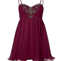Inspire Dark Red Embellished Bandeau Prom Dress