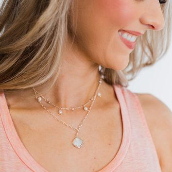 2 Tier Pearl & Diamond Studs Necklace- Rose Gold