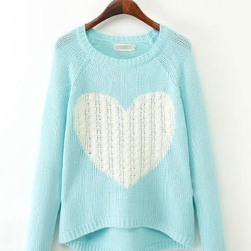 Heart Pattern Long Back Knitted Sweater