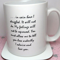 Pride and Prejudice Mug, Mr Darcy's Proposal, You Must Allow Me... Quote, Jane Austen, UK