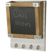 Wood Wall Organizer - Wall File with Chalkboard Memo Board and Coat Hooks