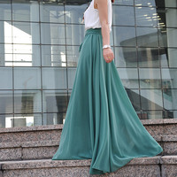 High Waist Maxi Skirt Chiffon Silk Skirts Beautiful Bow Tie Elastic Waist Summer Skirt Floor Length Long Skirt (037), #33