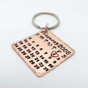 calendar page - save the date - copper keyring -keychain - hand stamped - 7 year anniversary -wedding gift - valentines - copper gift