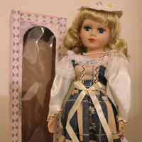 "Rose, Blond Porcelain Doll, 16"" Vintage Limited Edition Victorian Rose Collection, Plaid Dress with Stand."