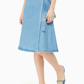 vintage denim wrap skirt