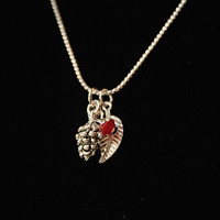 Handmade Silver Pine Cone Pinecone Leaf Charm Necklace with Red Swarovski Crystal Drop