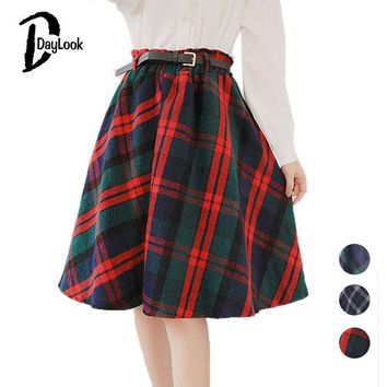 Autumn Style Scottish Plaid Skirt Women Warm Elastic Hight Waist Skater Pleated Skirt Knee Length Casual Chic 3 Colors
