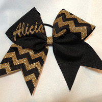 Monogrammed black and gold glitter chevron cheer bow