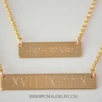 Double Horizontal Bar Necklace - NamePlate Necklace - Custom Necklace -