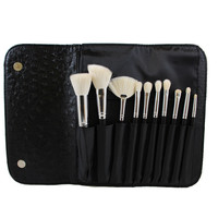 Morphe 10 Piece Deluxe Brush Set with Faux Ostrich Skin Case - Set 692