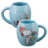 Peanuts Snoopy by Vandor Holiday 18 oz Ceramic Oval Mug New