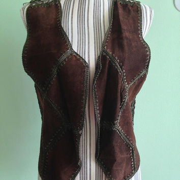Suede Leather Vest, Vintage Women Gilet, 70s Festival Hippie Waistcoat, Leather Patchwork Sleeveless Jacket, Biker Clothing, Size M Medium