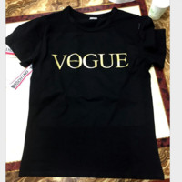 VOGUE letters print black round collar pullover T-shirt