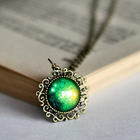 Green Glass Dome Glalaxy Filigree Pendant Necklace