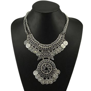 Women Bohemian Festival Jewelry Double Chain Coin Statement Necklace SL