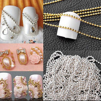 2015 1M Nail Art Tip Metal Glitter Striping Tape Ball Beads Chain Line 3D CA3 HU