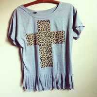 Leopard cross fringed hipster shirt