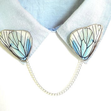 mint butterfly , sweater clip , collar pin , collar chain , butterfly brooch , butterfly gift , butterfly gift idea ,  mint gift idea