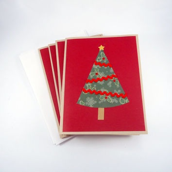 Merry Christmas Card, rustic Christmas card, primitive holiday card, Christmas tree card, handmade greeting card, red green kraft