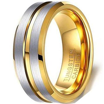 CERTIFIED 8mm Tungsten Carbide Ring plated Groove Wedding Engagement Band Silver Matte Finish Two-tone