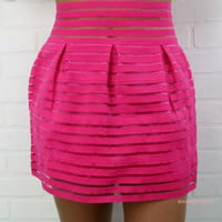 Pink About Me Fuchsia Stripe Skirt