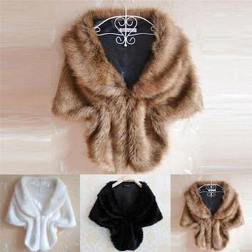 CREYN3C Women Lady Plush Faux Fur Shawl Wrap Bridal Wedding Jacket Gilet Stole Waistcoat Bolero Shrug Cape Black White Brown Stylish