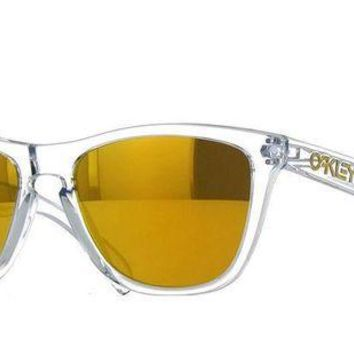 VONE7FQ New Oakley OO9013 A4 Clear Frame Yellow Lens Square Plastic Sunglasses Fast Ship