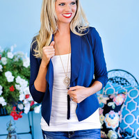 Blaize 3/4 Rouched Sleeve Navy Blazer