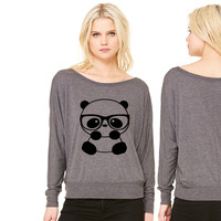 Nerd Panda women's long sleeve tee