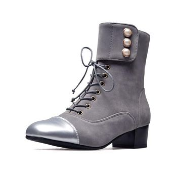 Lace Up Studded High Heels Chunky Ankle Boots 9601
