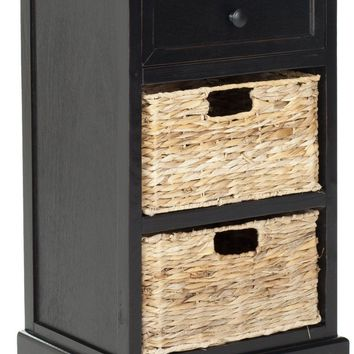 Carrie Side Storage Side Table Distressed Black