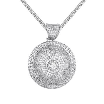 Men's Solitaire 3D Iced Out Circle mini Medallion Pendant Chain