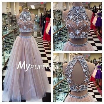 76b4e7fe106 Nude Tulle High Neck Two Piece Prom Dress from mypuffgirl | Prom